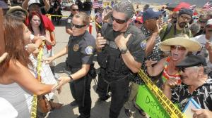 Crowds of protesters gather in front of the U.S. Border Patrol station in Murrieta, Calif., in July, when protests forced away buses carrying immigrants apprehended at the Texas border.